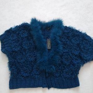 New 🎀 Fox fur trim eyelet open knit dolman jacket